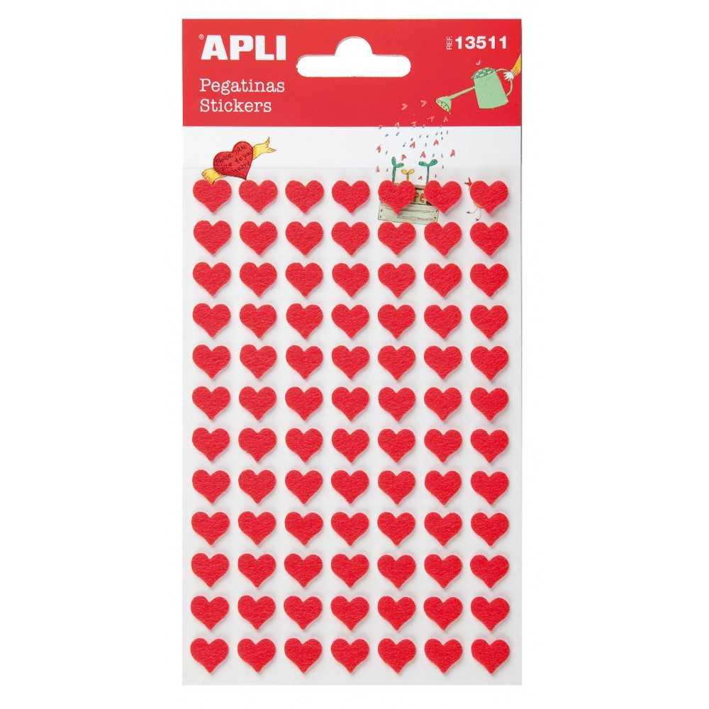 """1 Hoja Pegatinas Fieltro """" Corazón Rojo """" Apli 13511 compraetiquetas.com"""