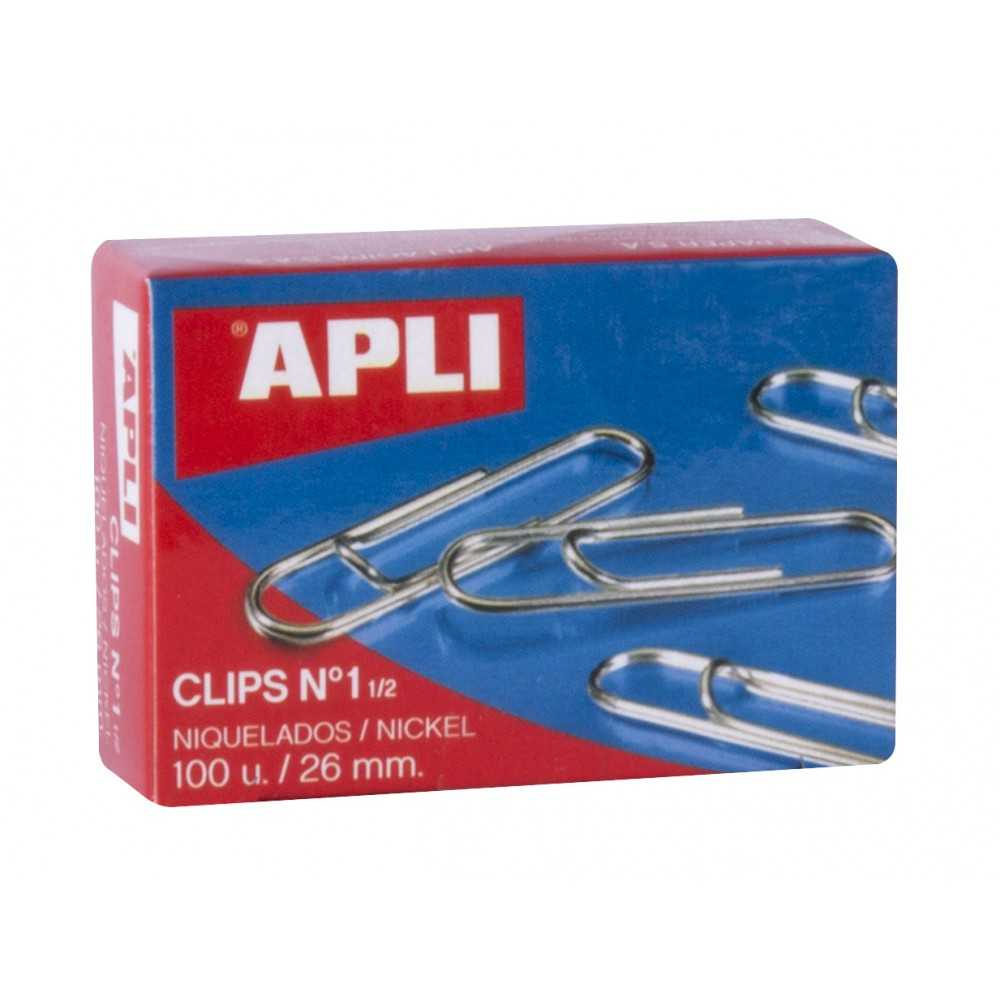 Caja de Clips Niquelados nº1 1/2 26mm Apli 11710