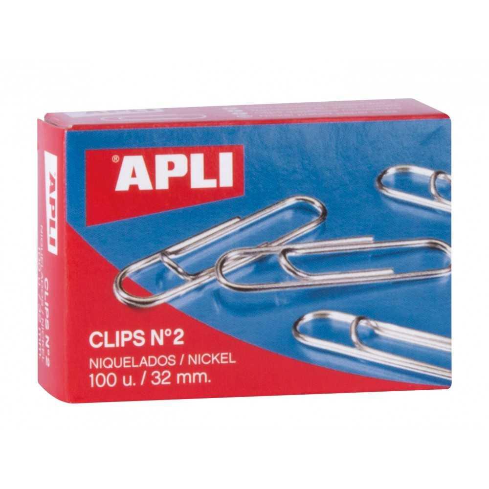 Caja de 100 Clips Niquelados nº2 32mm Apli 11711