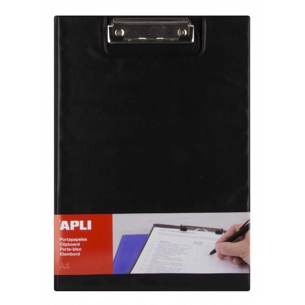 Porta Papeles Con Pinza Polipropileno Color Negro A4 Con Solapa Apli 17204 compraetiquetas.com