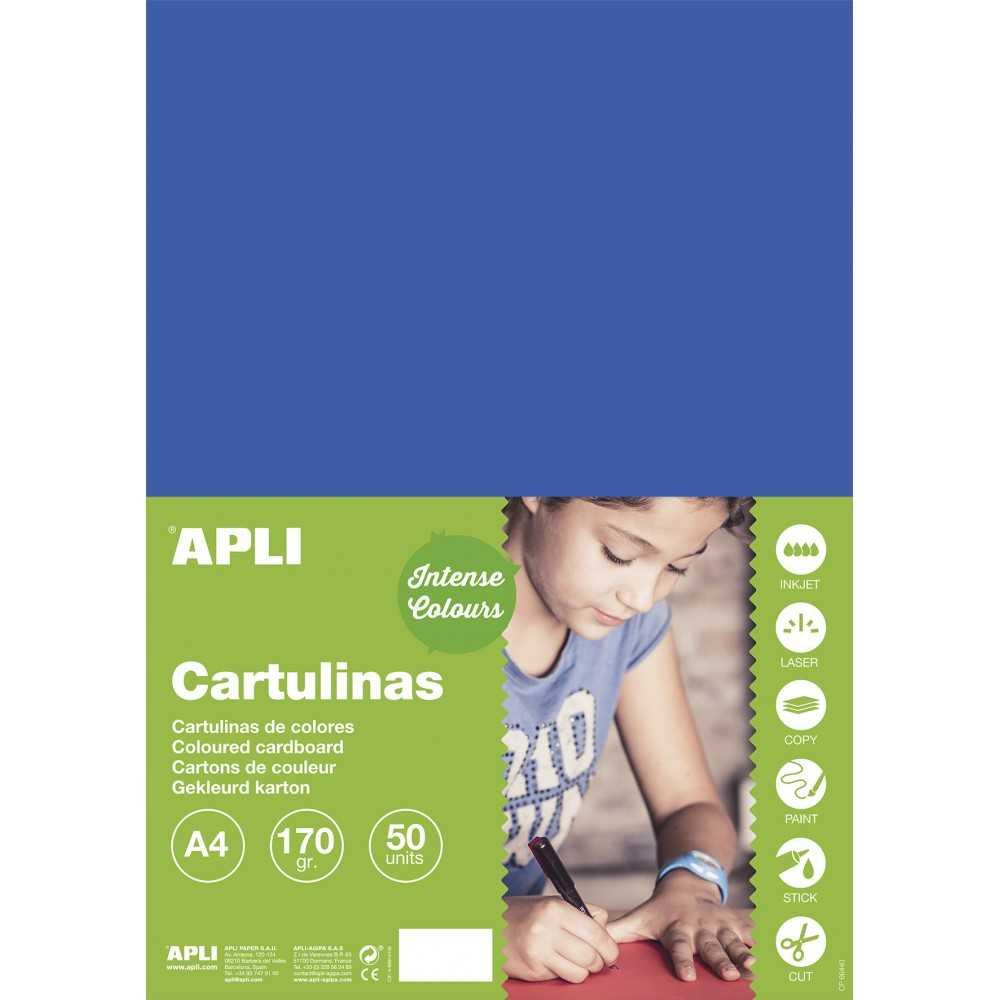 50 Hojas Cartulina A4, 170gr Color Azul Medio Apli 16502 compraetiquetas.com