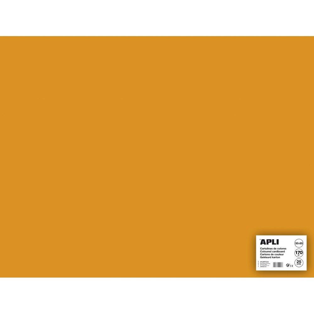 25 Hojas Cartulina 50x65cm Color Naranja Fluor Apli 14276 compraetiquetas.com