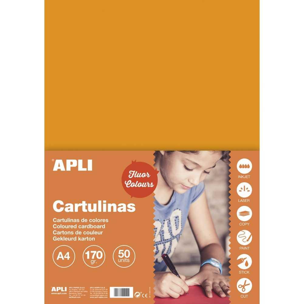 50 Hojas Cartulina A4 170gr Color Naranja Fluor Apli 14250 compraetiquetas.com