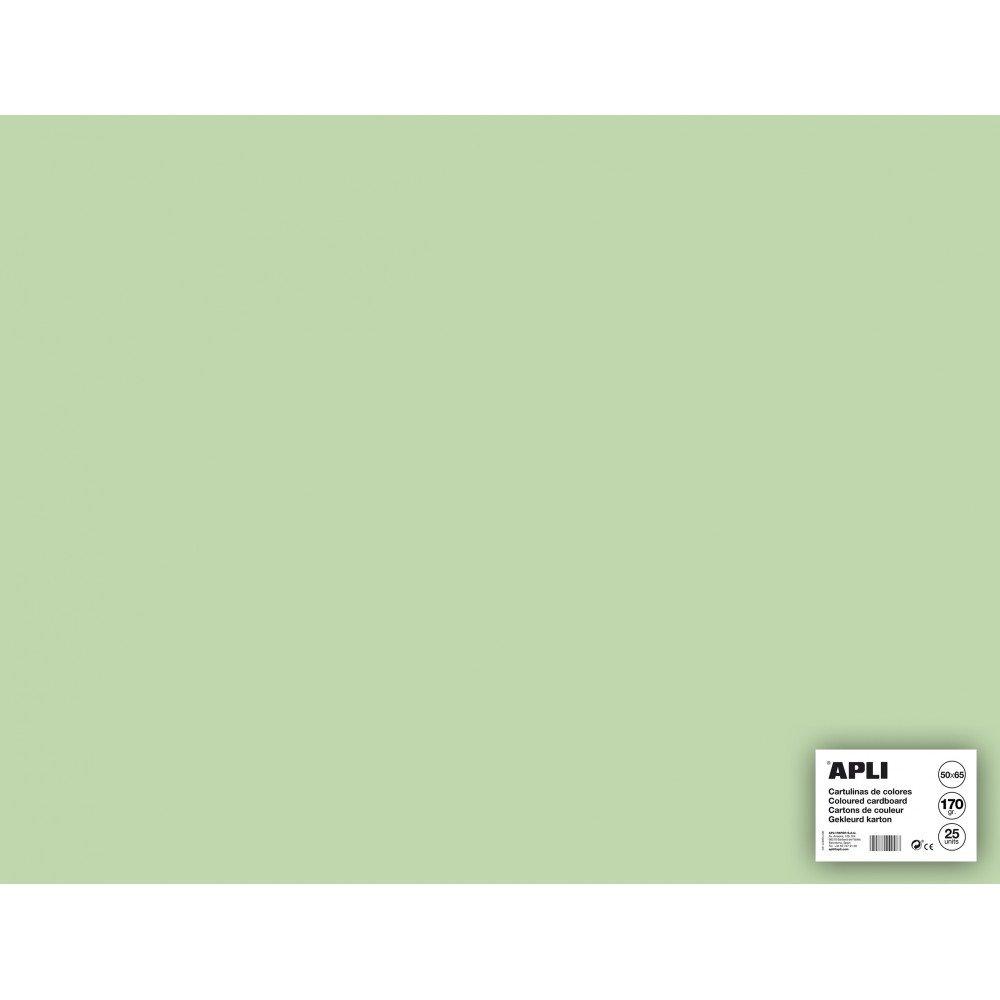 25 Hojas Cartulina 50x65cm Color Verde Esmeralda Apli 14260 compraetiquetas.com
