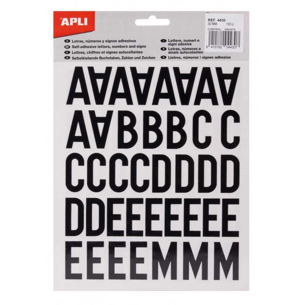 Letras, números y signos negros adhesivos mayúsculas 30 mm Apli 04430 compraetiquetas.com
