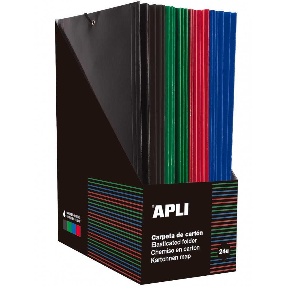 24 Carpetas con gomas y 3 solapas colores surtidos Folio Apli 15446 compraetiquetas.com