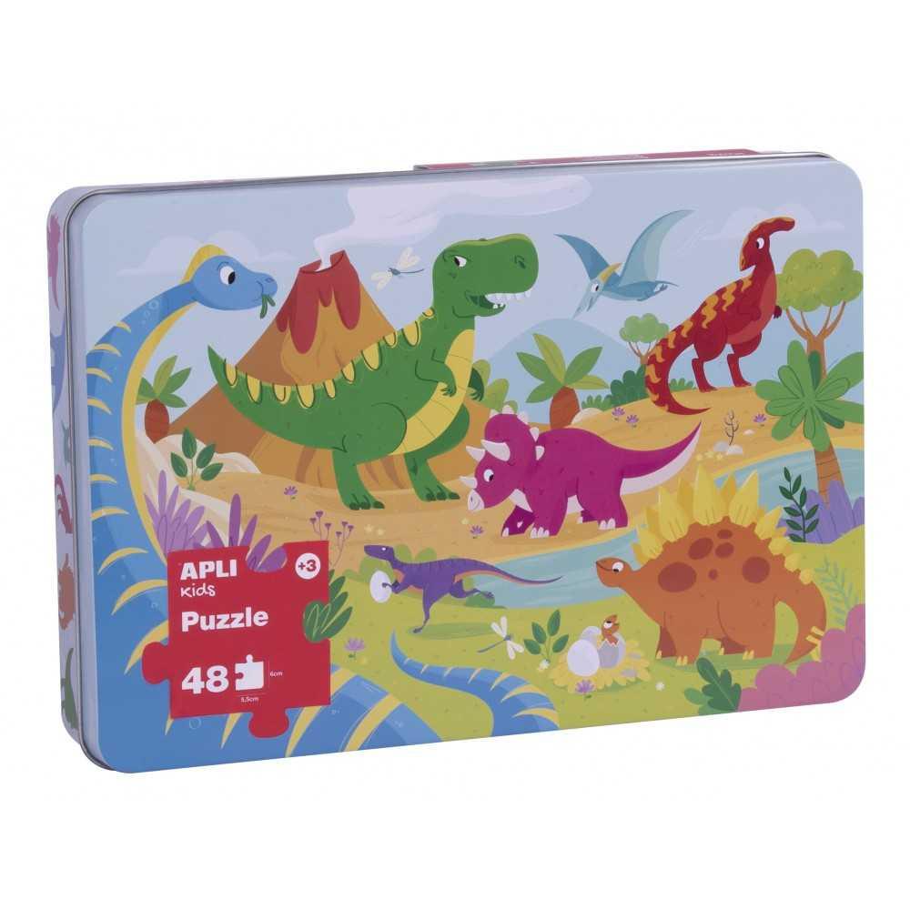 Puzle Caja Metálica Dinosaurios Apli 17888