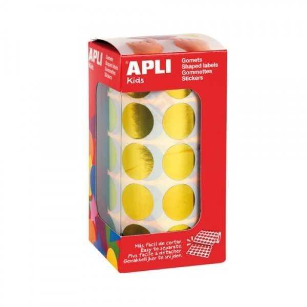 Gomets en Rollo Metalizado Amarillo ø 20 mm Apli 12047 compraetiquetas.com