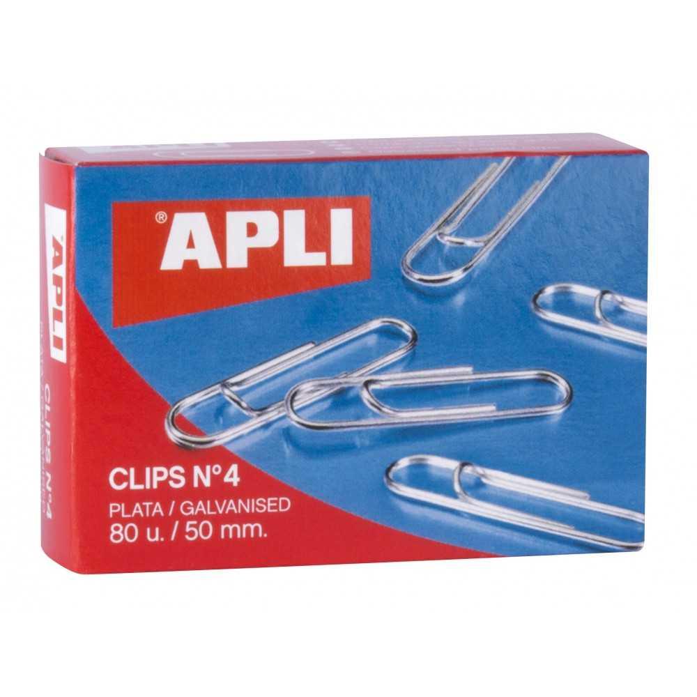 Caja de 80 Clips Plateados Nº 4  50mm Apli 11716