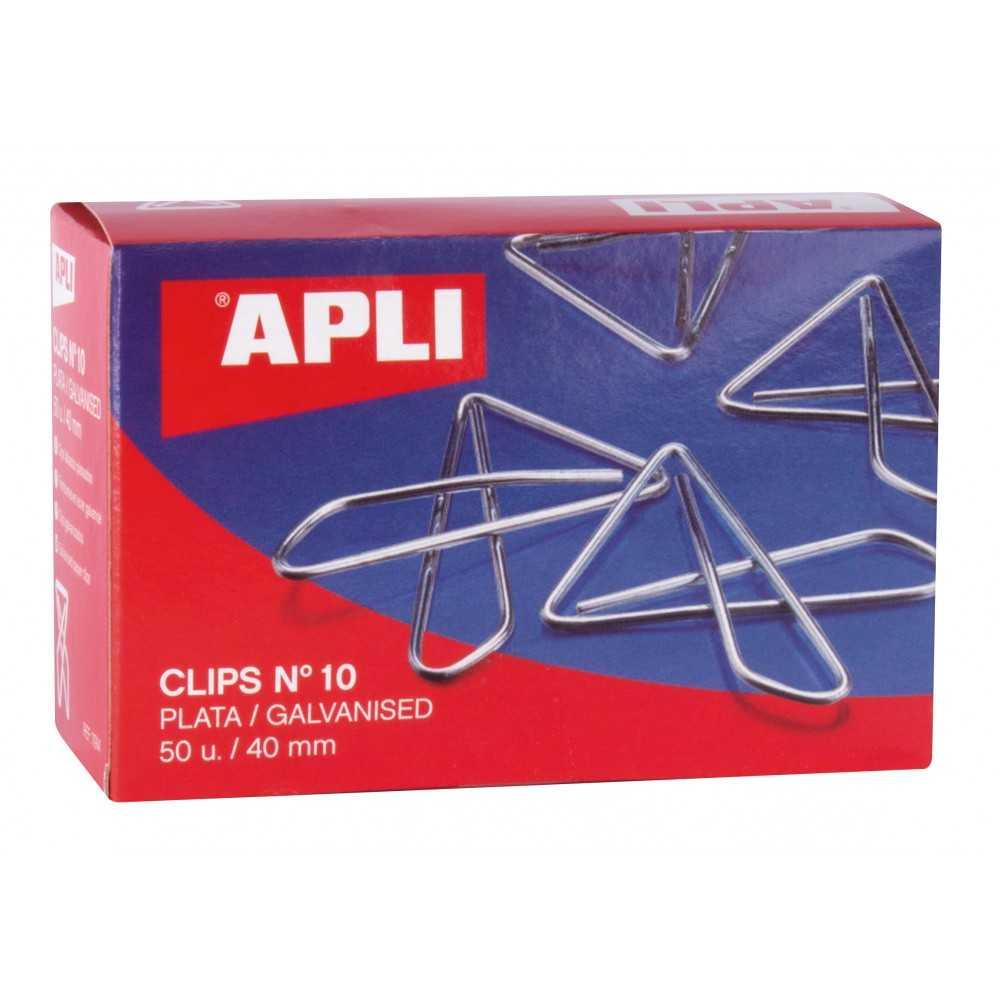 Caja de 50 Clips Mariposa Plateados Nº10 40 mm Apli 11914