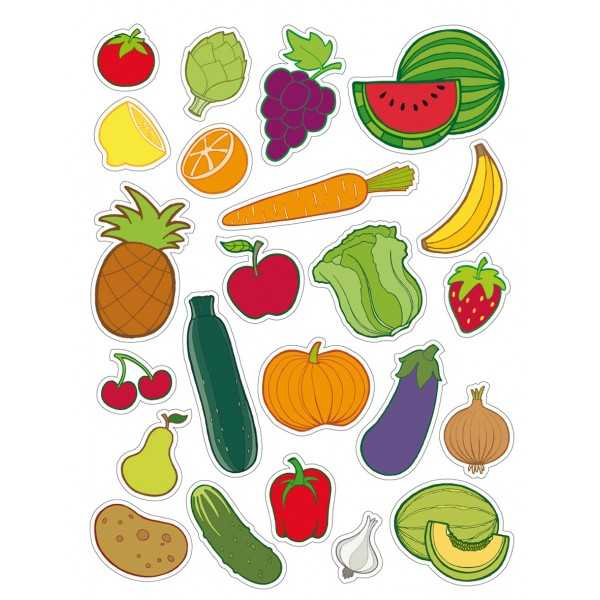 12 Hojas Gomets Tematicos Frutas y Verduras Apli 11451