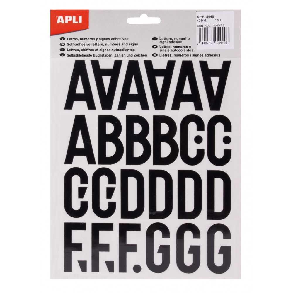 Letras, números y signos negros adhesivos mayúsculas 40 mm Apli 04440