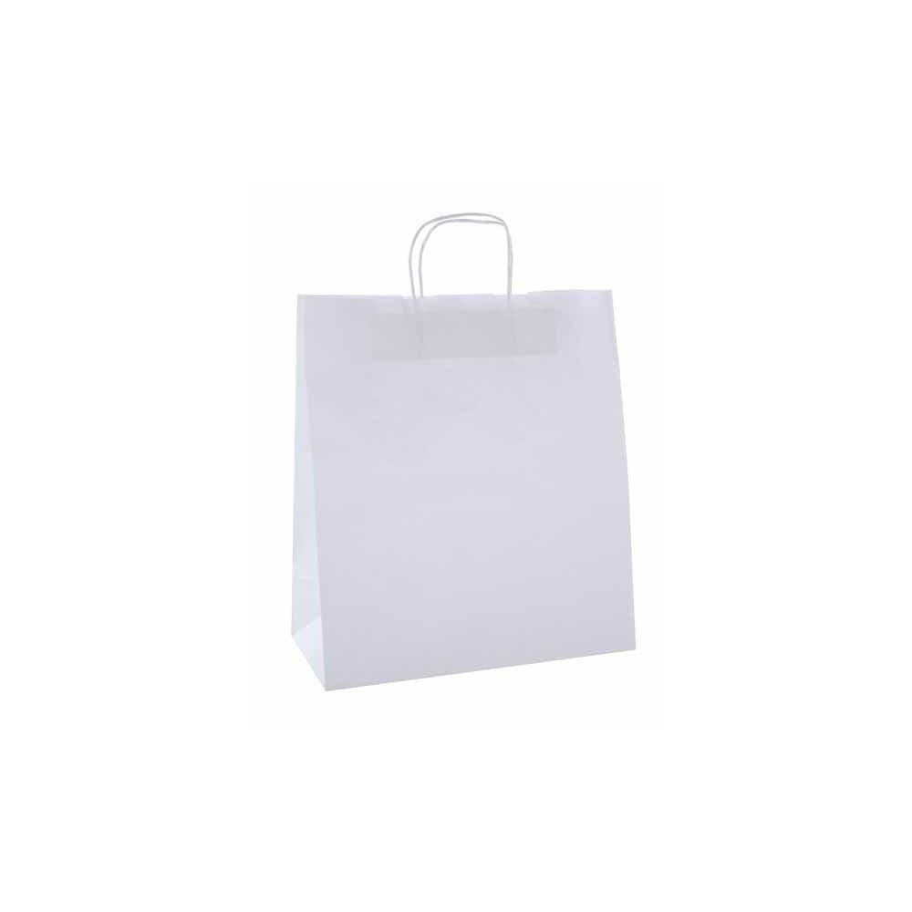 50 Bolsas de Papel Kraft de Color Blanco Con Asas 18x8x21 cm Apli 101853
