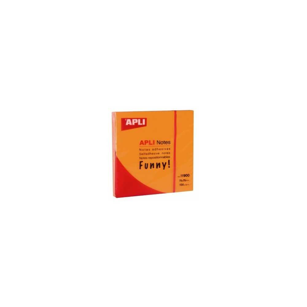 Bloc 100 Hojas Notas Adhesivas Naranja Fluor 75x75mm Apli 11900