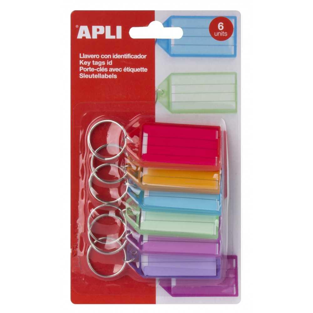10 Llaveros Porta Etiquetas Plástico Traslucido Premium Surtido Color Apli 17135