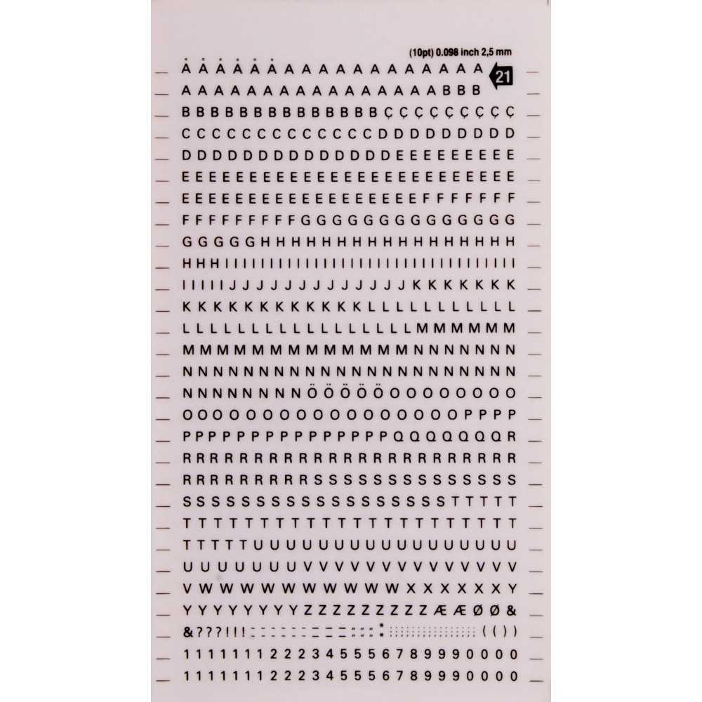 1 Hoja de Letras, Números Transferibles Color Negro 2.5mm Decadry by Apli DD21F