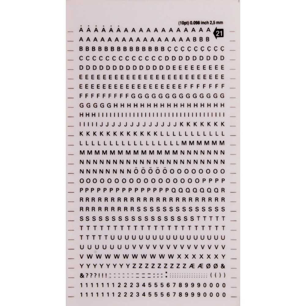 Letras y Números Transferibles Negros 2,5 mm Apli DD21F