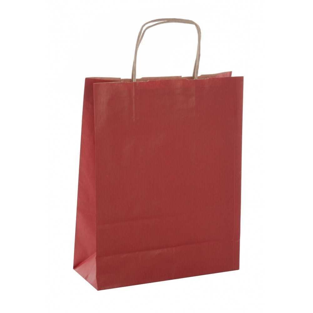 50 Bolsas de Papel Kraft de Color Rojo Con Asas 18x8x21 cm Apli 102068