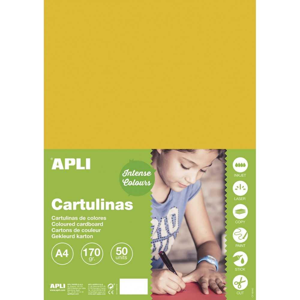 50 Hojas Cartulina Amarillo Oro 170 gr A4 Apli 16501