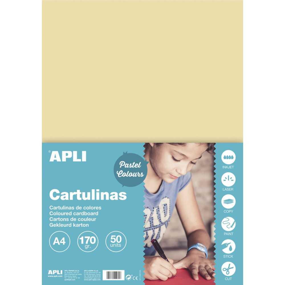 50 Hojas Cartulina Color Crema A4 170gr Apli 14233 COMPRAETIQUETAS