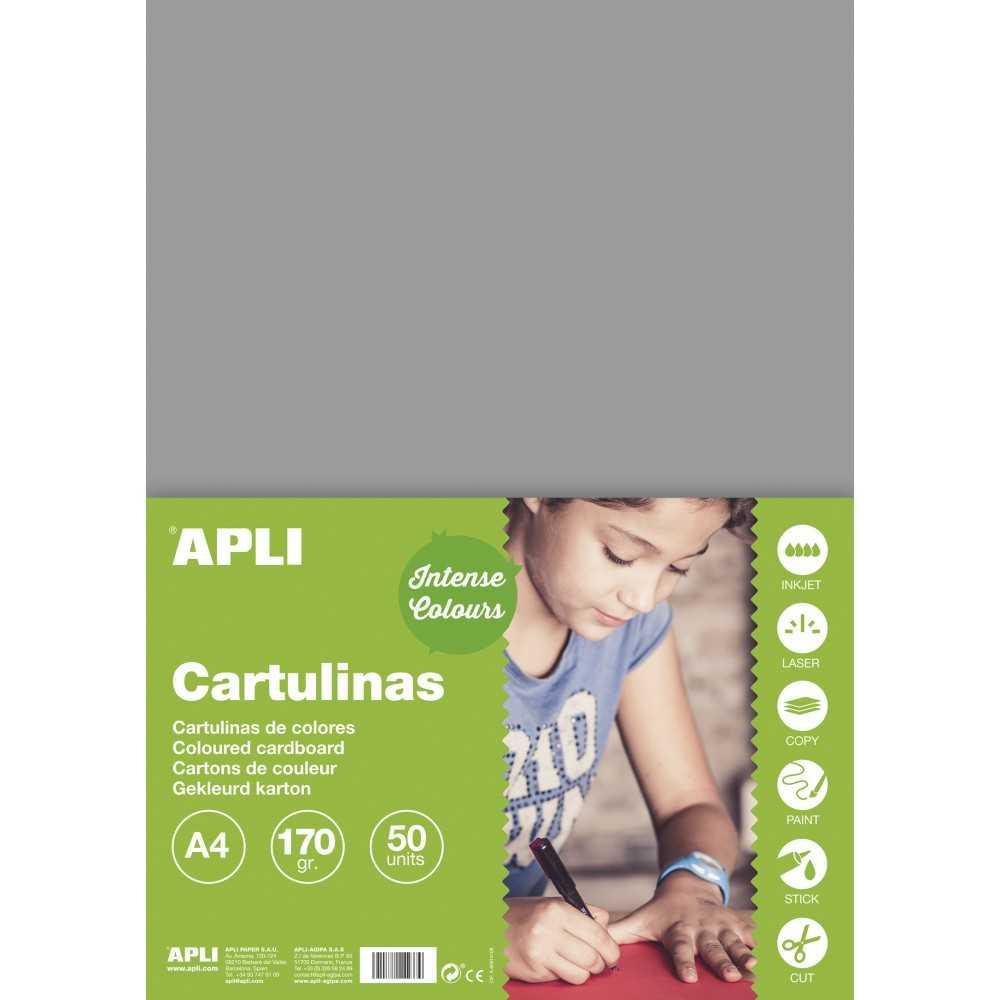 50 Hojas cartulina Apli. 14242. Formato A4. Color gris