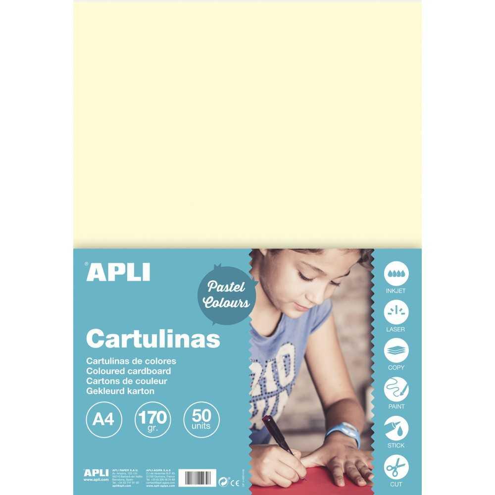 50 Hojas Cartulina Color Marfil A4 170gr Apli 14230 COMPRAETIQUETAS