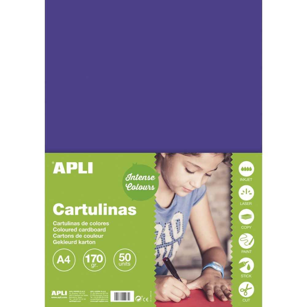 50 Hojas Cartulina Color Morado A4 170gr Apli 14247 COMPRAETIQUETAS