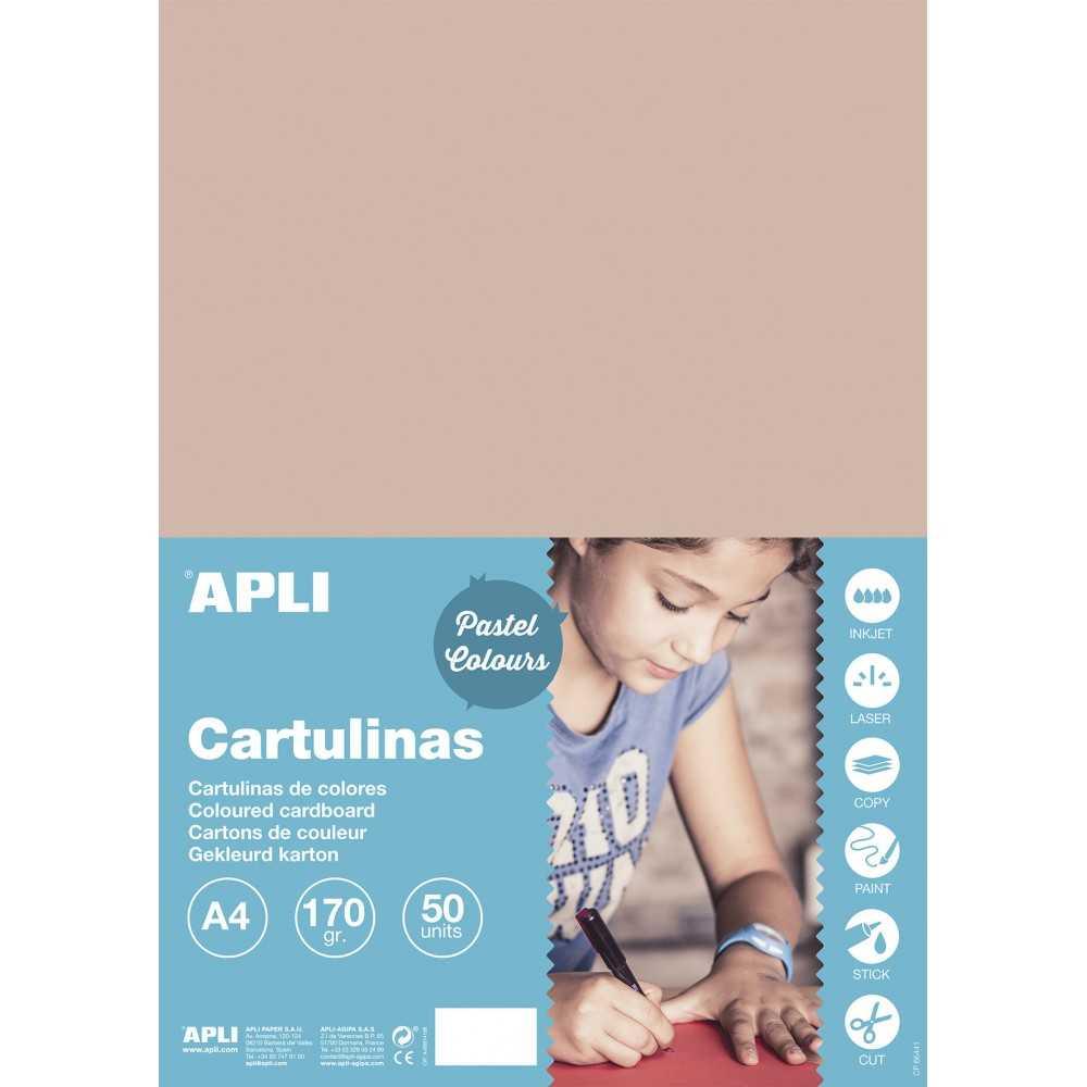50 Hojas de Cartulinas Color Salmón. Apli 16500. Formato A4.