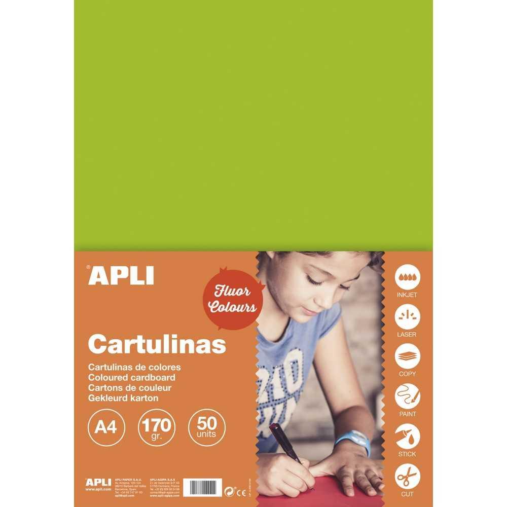 50 Hojas Cartulinas Color Verde Fluor. Apli. 14249. formato A4.