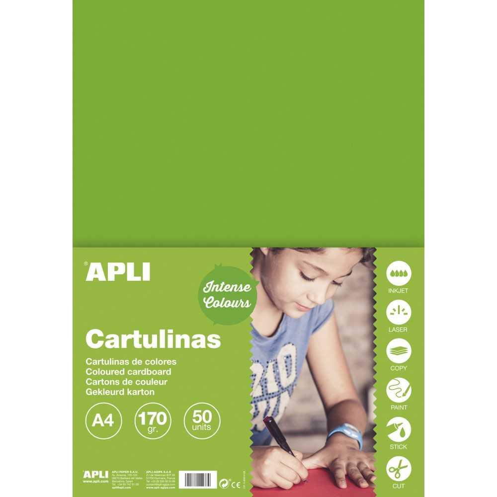 50 Hojas Cartulina Color Verde Hierba A4 170Gr Apli 14240