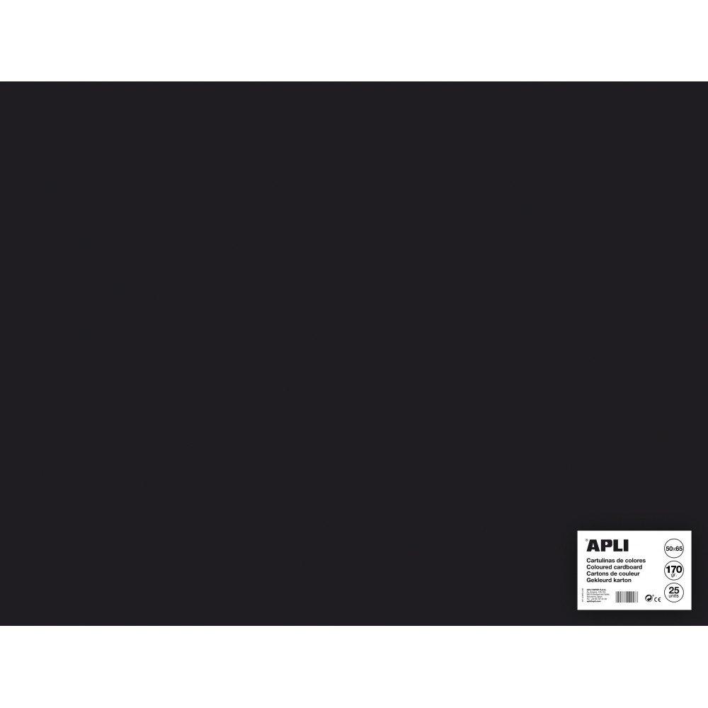 25 Hojas Cartulina Color Negro 50x65cm Apli 14279 Compraetiquetas