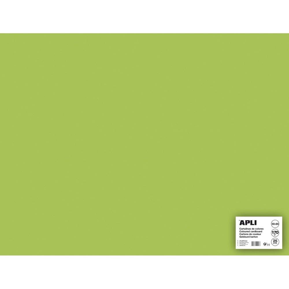 25 Hojas Cartulina Verde Claro 50x65cm Apli 14257