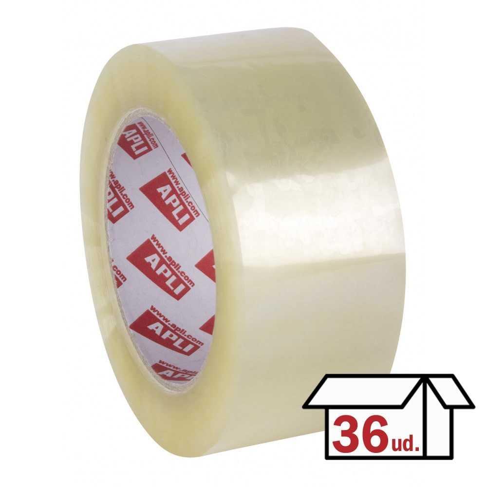 Pack 36 Rollos Precinto PP Adhesivo Acrílico 48mm x 132m Transparente Apli 11735