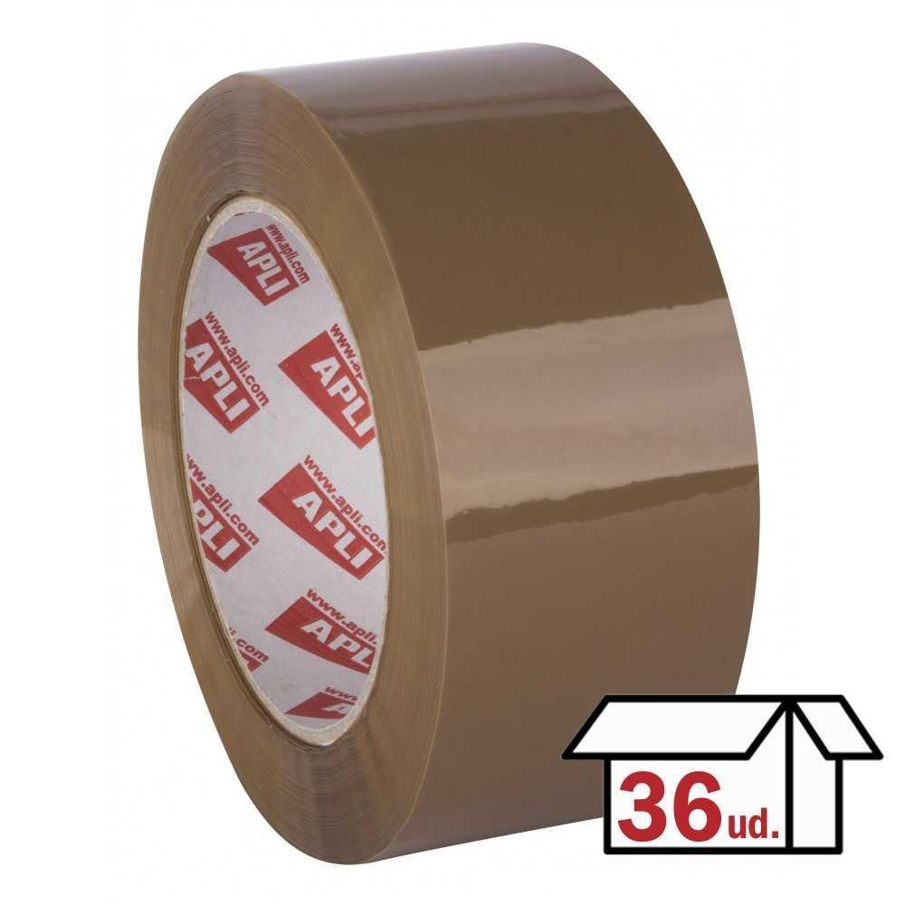 Pack 36 Rollos Precinto Adhesivo Sin Ruido 48 mm x 66m Marrón Apli 11943
