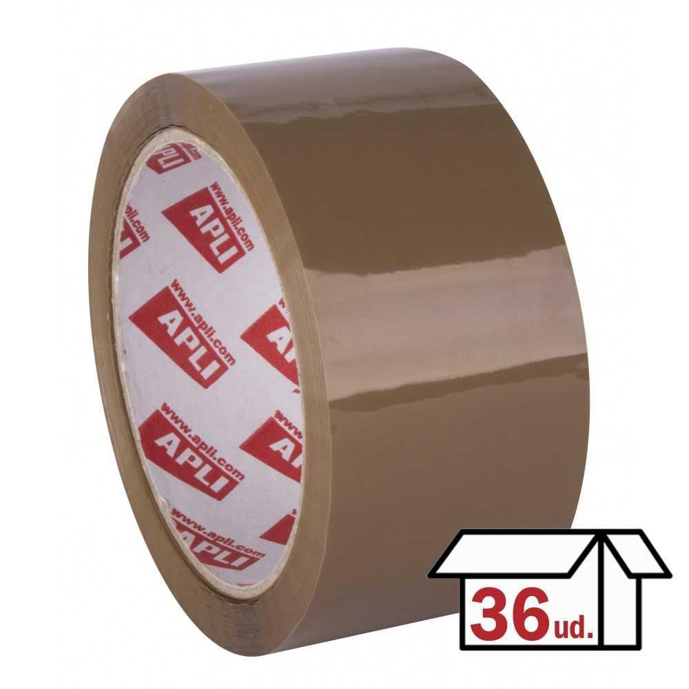 Caja 36 Rollos Precinto PVC Adhesivo Solvente Sin Ruido 48 mm x 66m Marrón Apli 11591