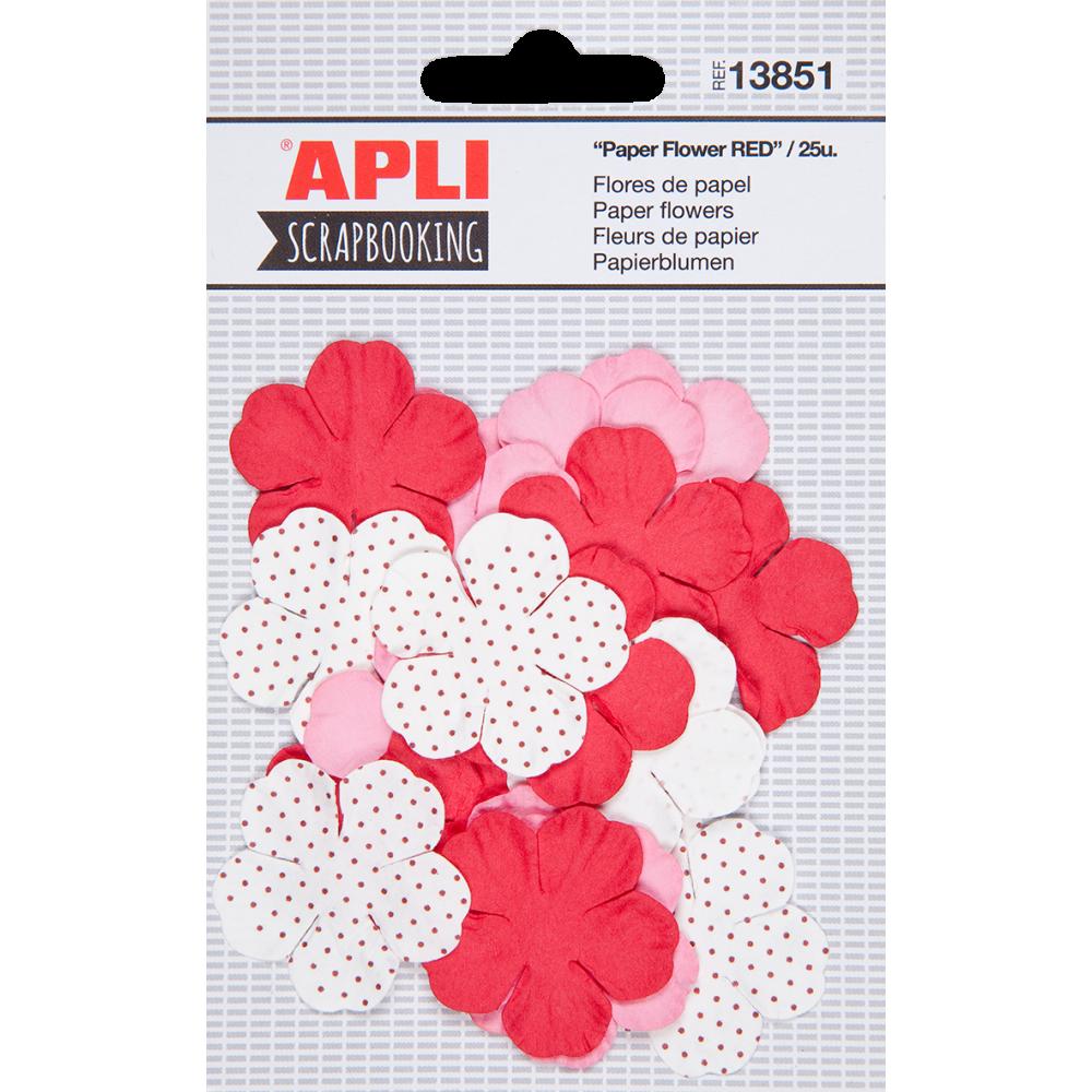 Flores de Tela  Tonos Rojo Surtidas Scrapbooking APLI 13851