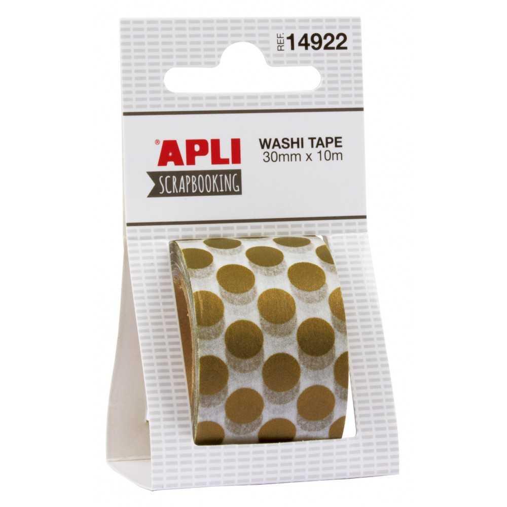 Cinta Washi Tape Topos Color Oro 30mmx10m Scrapbooking APLI 14922