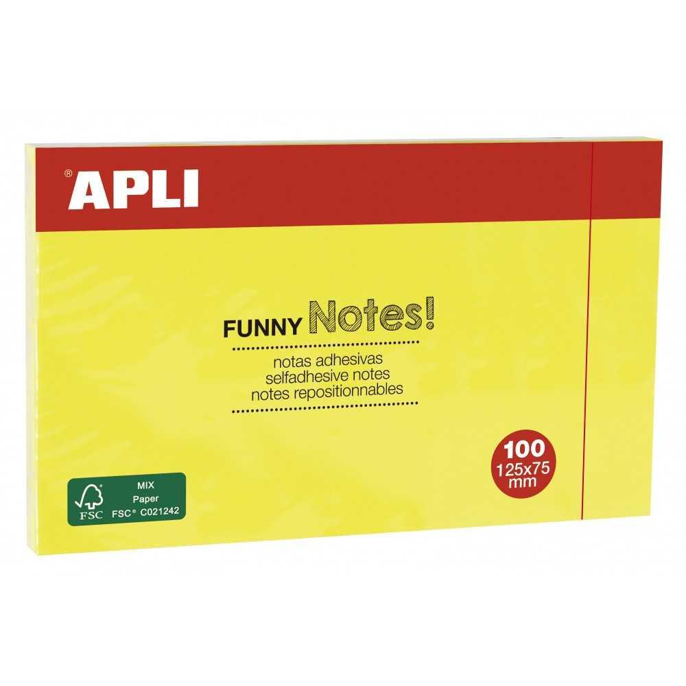 Bloc de 100h Notas Adhesivas Amarillo Fluor 125 x 75 mm Apli 15002 compraetiquetas.com