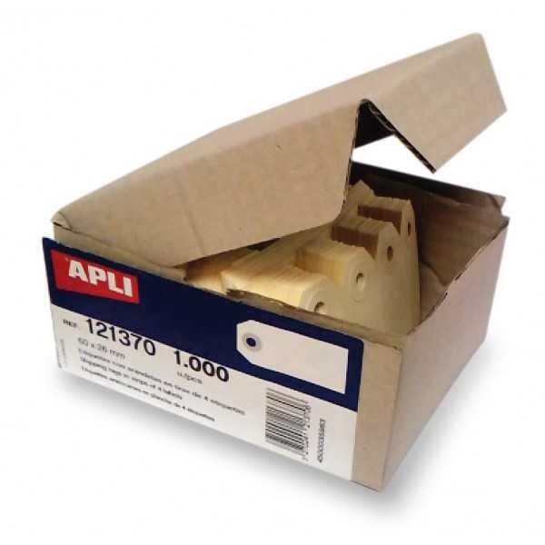 Etiquetas Colgantes Con Arandela 1000 Uds. 60x26 mm Apli 121370