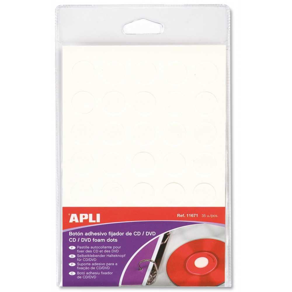 Botones Fijadores CD/DVD Redondo Color Blanco Apli 11671 Compraetiquetas