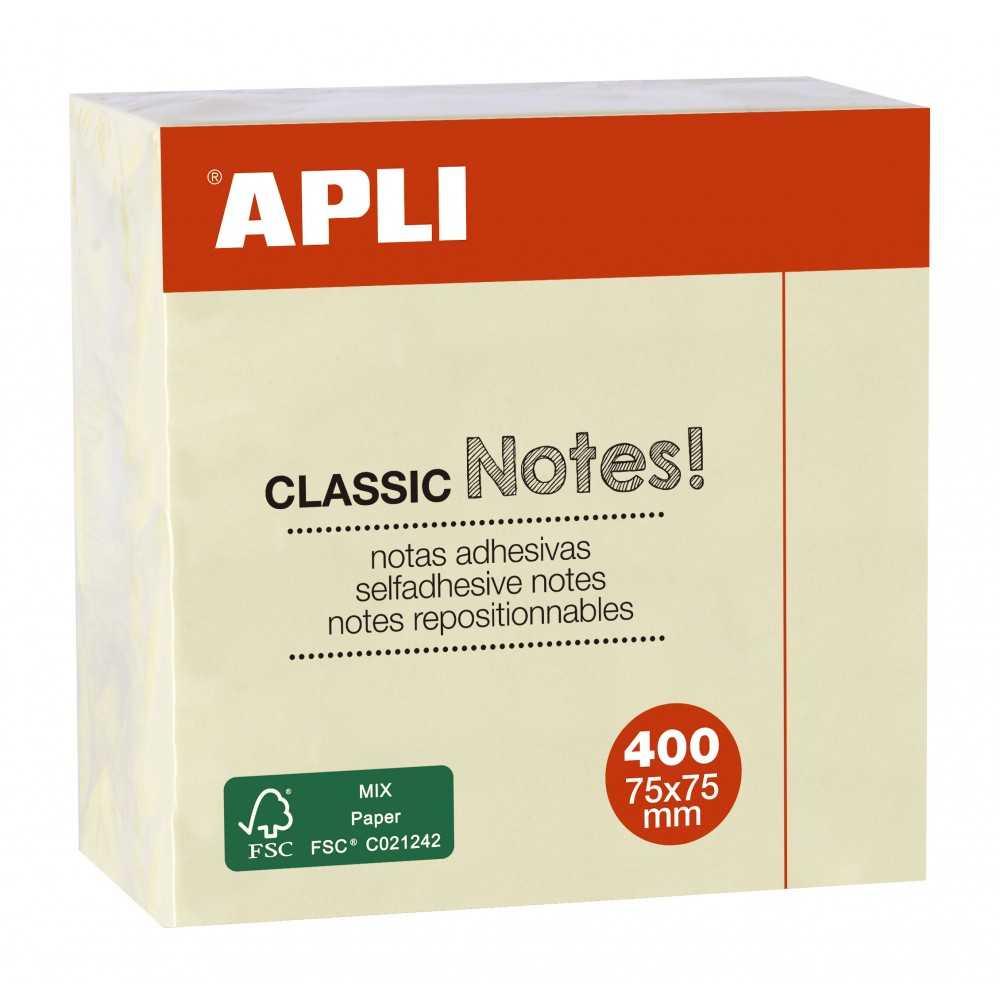Notas Adhesivas Color Amarillo 75x75 mm 400 Hojas Apli 11597
