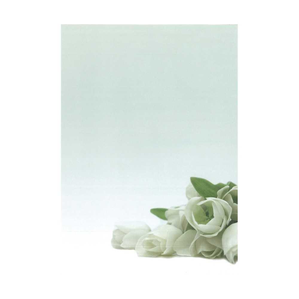 Papel temático motivo flor blanca. Apli. 12126