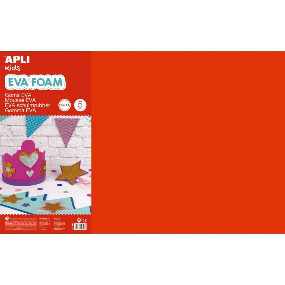 5 Hojas de Goma Eva Color Rojo 60 x 40 cm Apli 12756 compraetiquetas