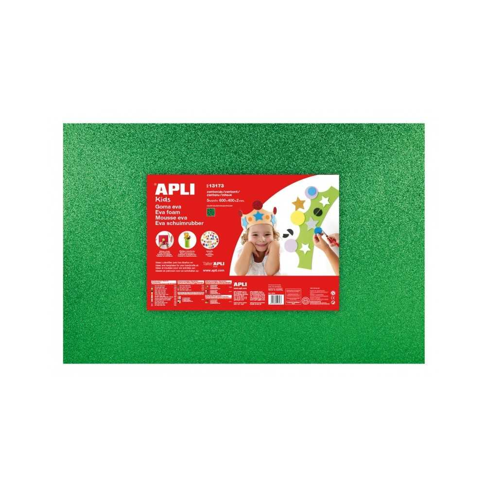 3 Hojas Goma Eva Purpurina Color Verde 60x40 cm Apli 13172