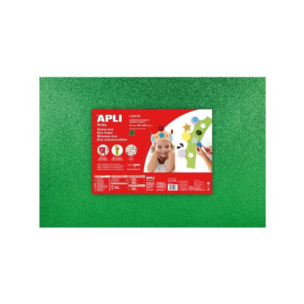 3 Hojas Goma Eva Purpurina Color Verde 60x40cm Apli 13173 Compraetiquetas