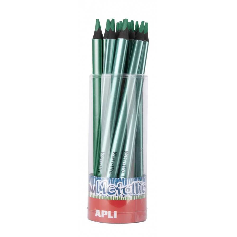 Tubo 18 Lapices Jumbo Color Metalizado Verde Apli 17514