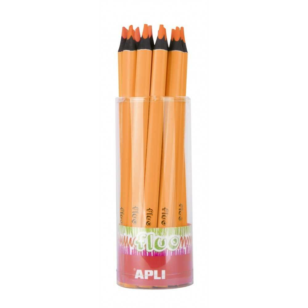 Tubo 18 Lápices Jumbo de Color Naranja Fluor Apli 17505 Compraetiquetas