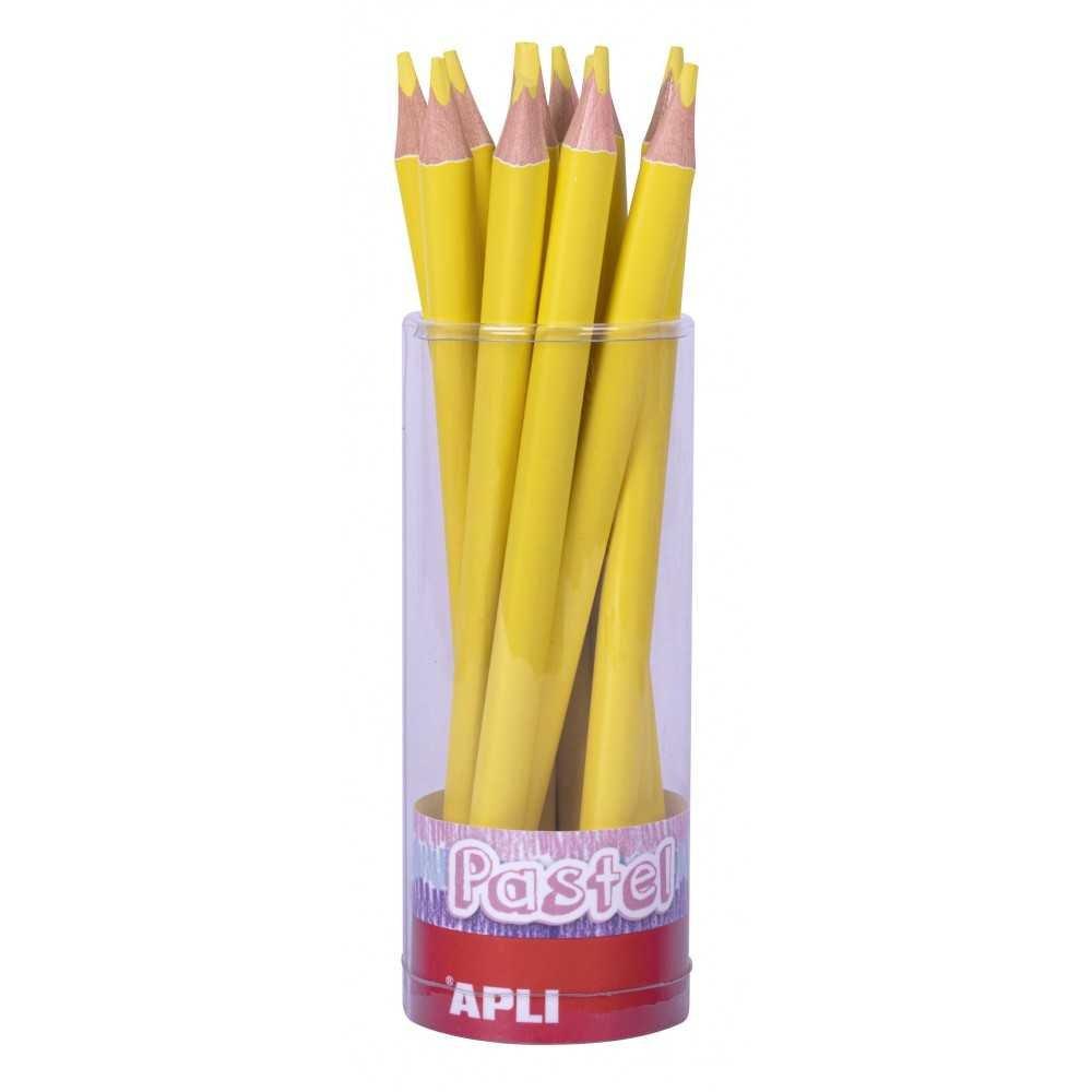 18 lápices jumbo amarillo pastel. Apli. 18053