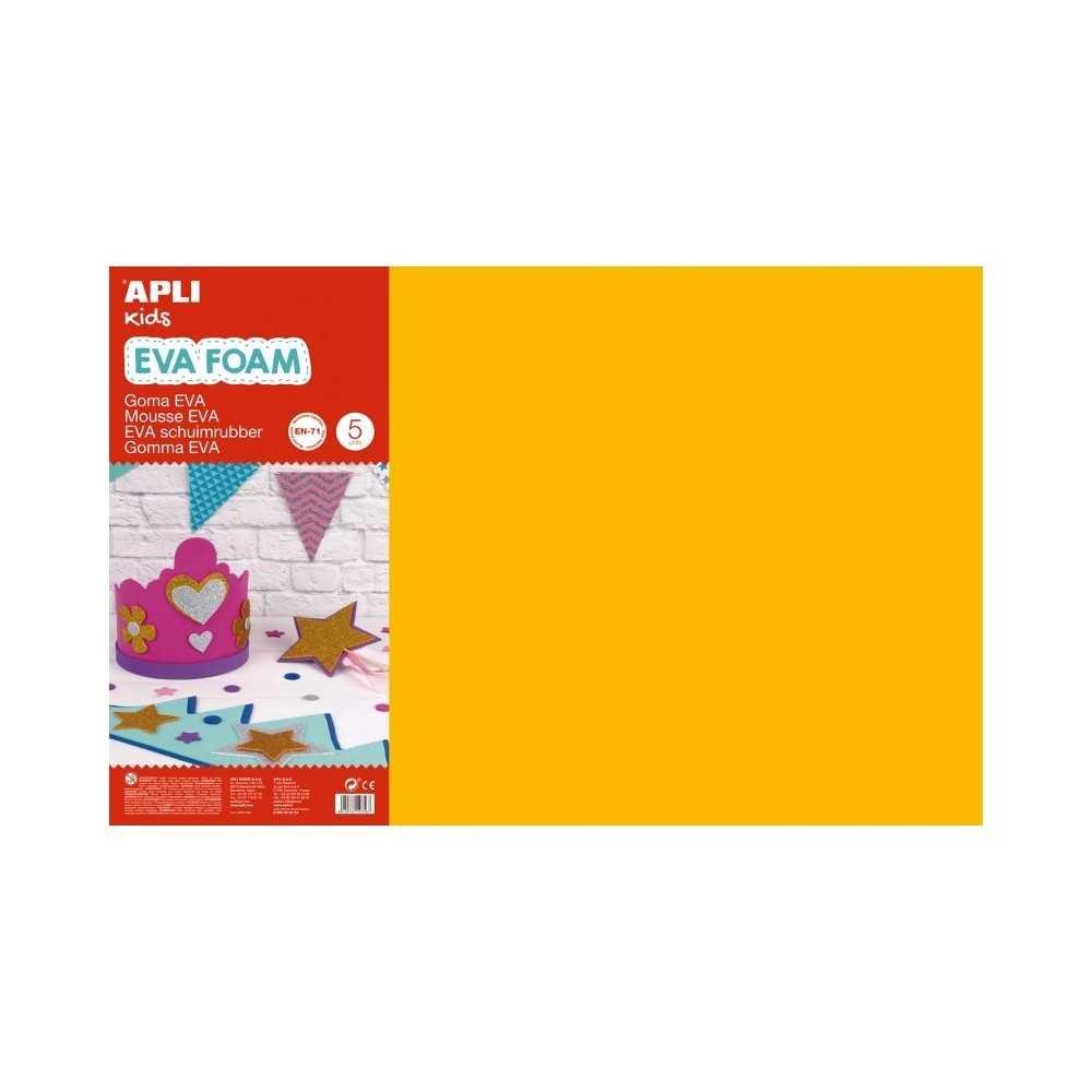 5 Hojas de Goma Eva Color Naranja 60x40 cm Apli 12758