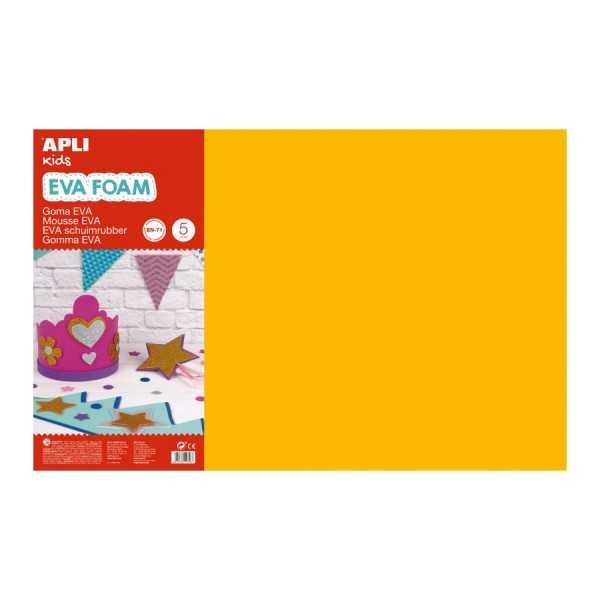 5 Hojas Goma Eva Color Naranja 60x40cm Apli 12758 Compraetiquetas